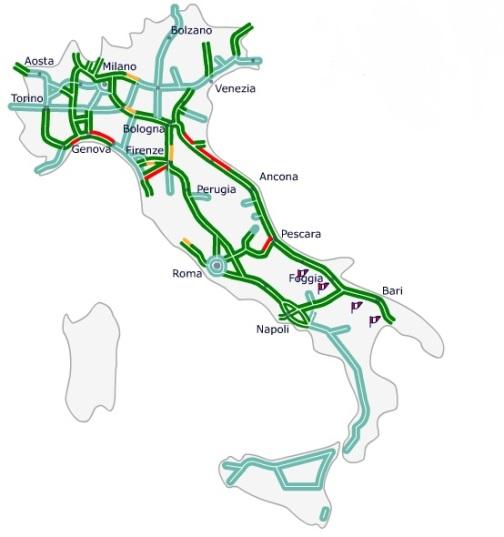 Карта итальянских автобанов