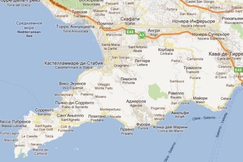 Карта побережья Амальфи