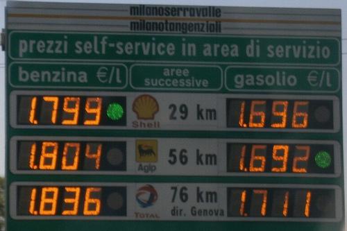 Стоимость бензина в Италии, фото, Рим, Италия