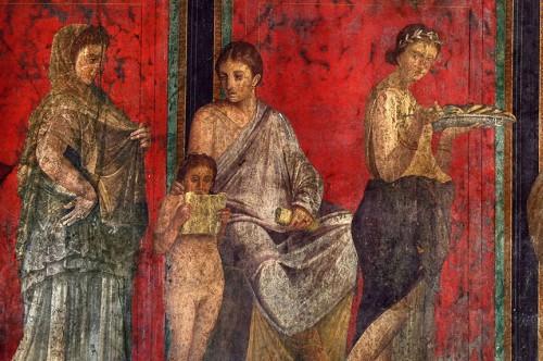Что посмотреть в Помпеях, фото, фрески «Комедианты», Помпеи, Италия