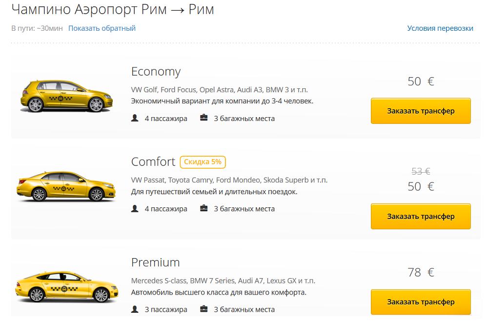 цены на такси из аэропорта Чампино в Риме