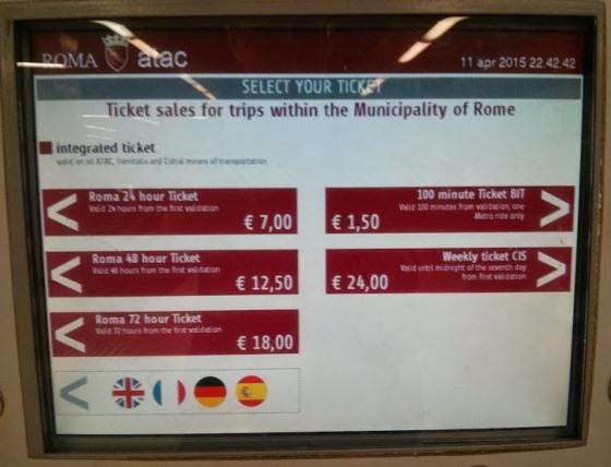 Цены общественного транспорта в Риме