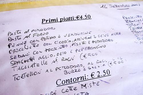 Стоимость обеда в Тратории, фото, Болонья, Италия
