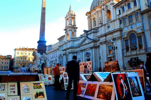 Уличные художники в Риме