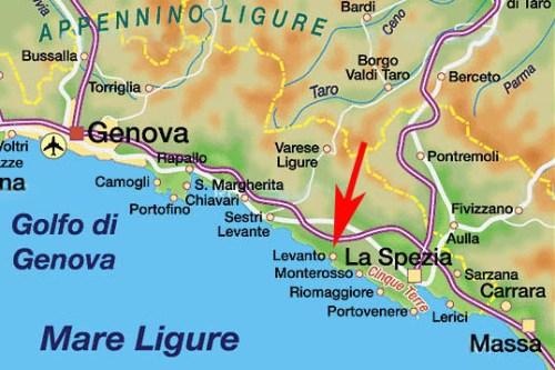 Карта пляжей Лигурийского побережья