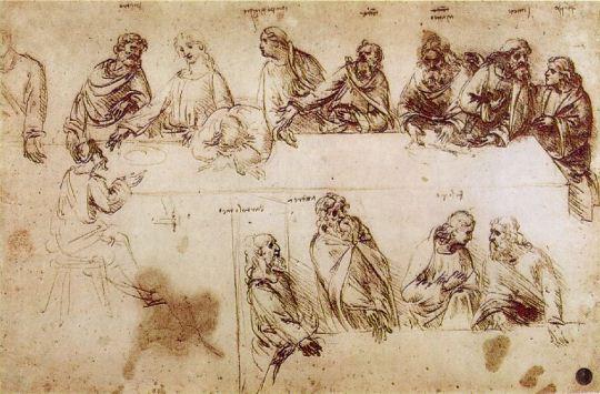 Эскизы Тайной вечери в Венецианской академии