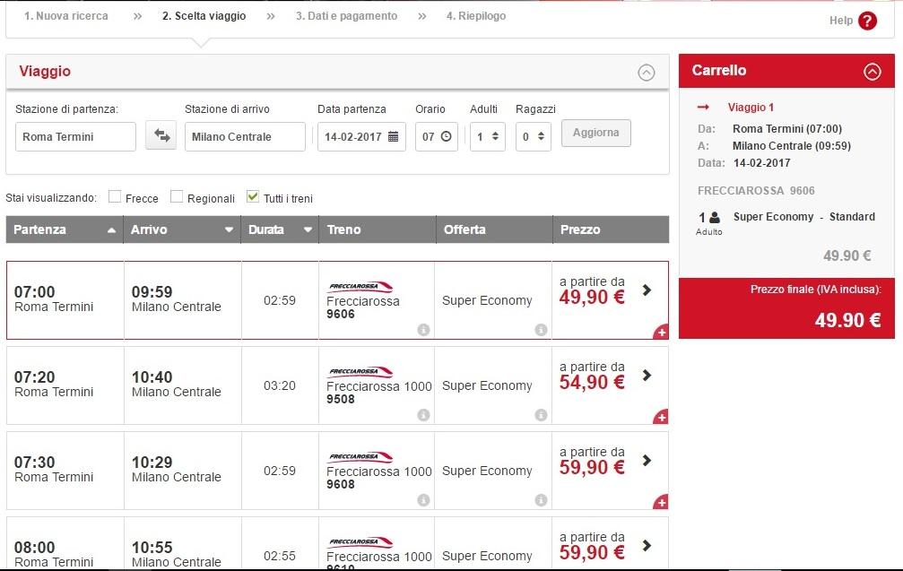 Стоимость билетов на поезда в Италии