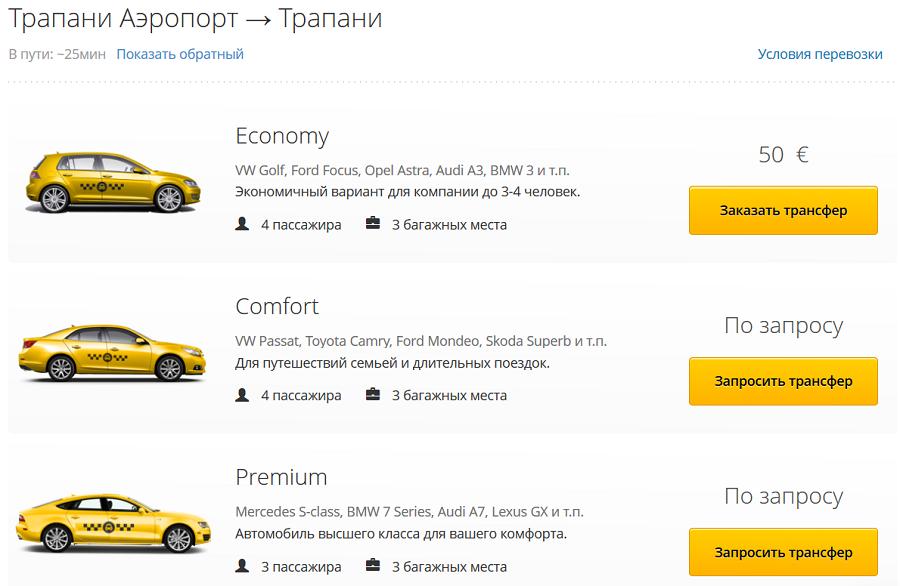 Цена такси из аэропорта Трапани на Сицилии