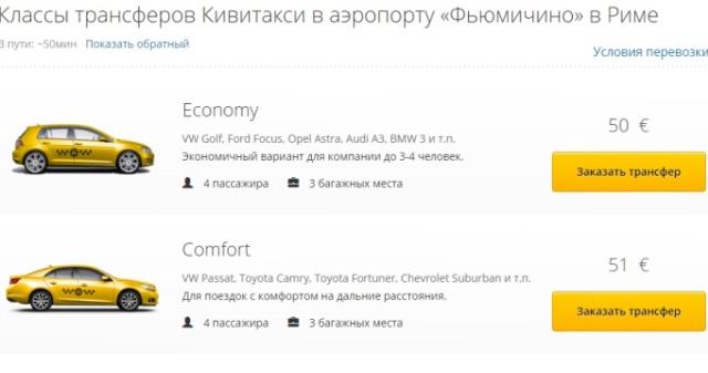 Тариф стоимости такси из аэропорта Фьюмичино (2020)