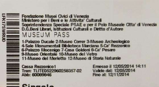 Карта для посещения музеев Венеции