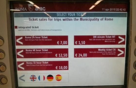 Билеты на общественный транспорт в Риме